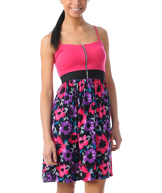 Love, Fire Pink & Black Floral Zipper Dress