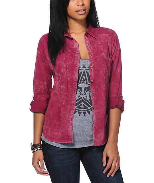 Love, Fire Pink Knit Button Up Shirt