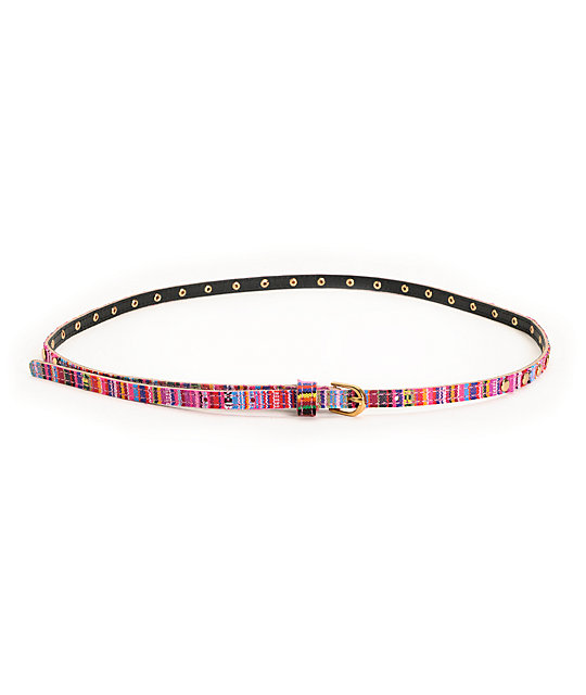 Love, Fire Pink Striped Studded Skinny Belt