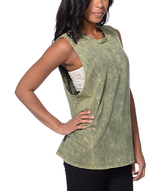 Love, Fire Sage Green Muscle Tank Top