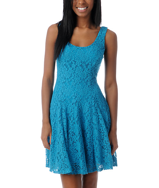 Love, Fire Turquoise Lace Skater Dress