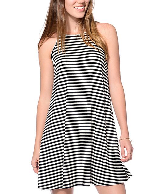 Love, Fire Wyatt Black Cream Stripe Tank Dress