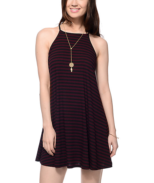 Love, Fire Wyatt Burgundy & Black Stripe Tank Dress