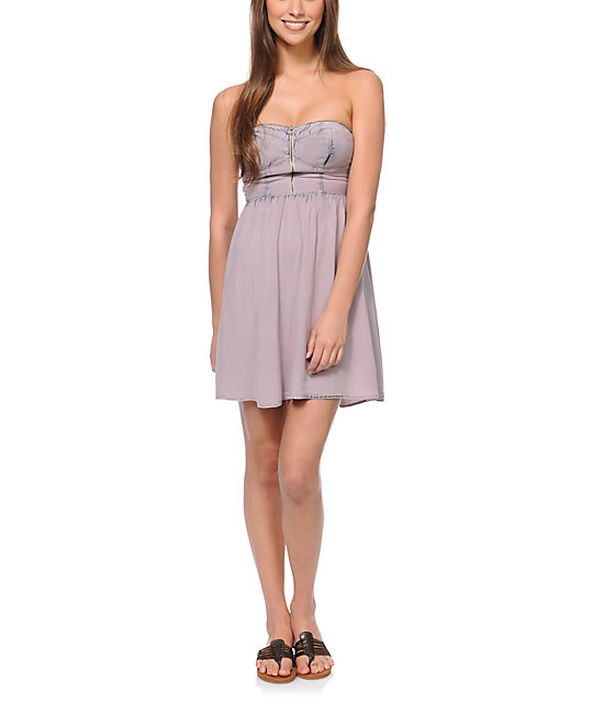 Love, Fire Zipper Dyed Grey Strapless Dress