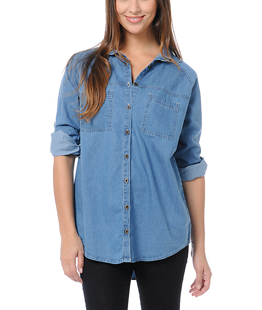 love fire blue denim button up shirt