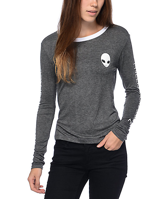 Lunachix Alien & Space Charcoal Long Sleeve Shirt