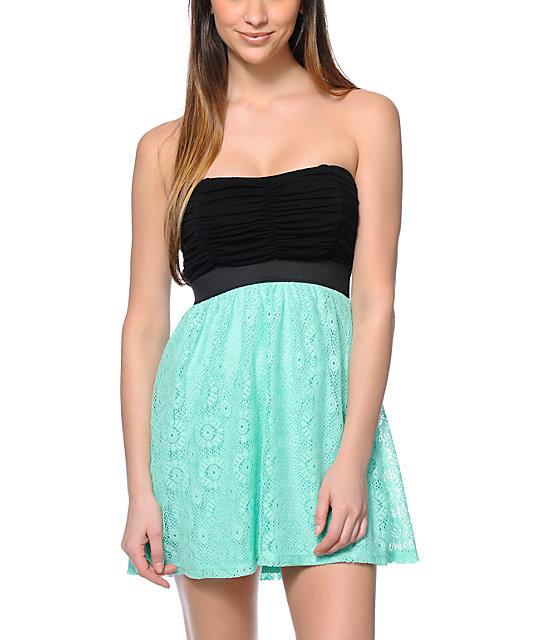 Lunachix Black & Mint Crochet Strapless Dress