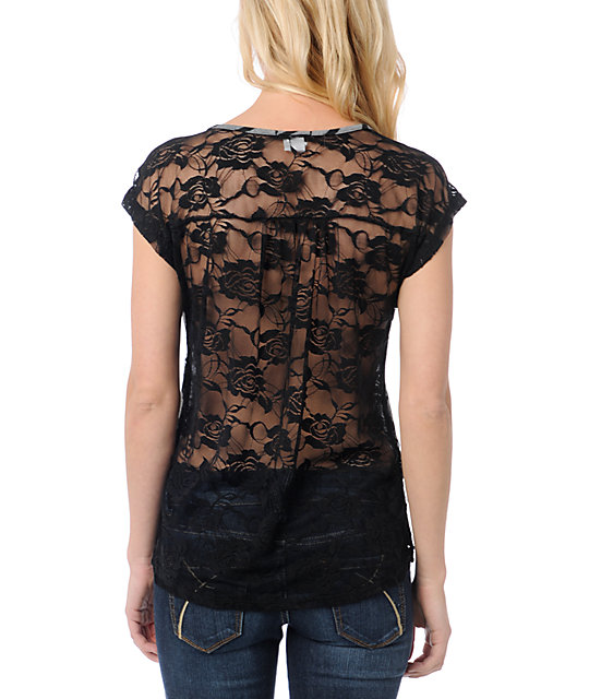 Lunachix Black Lace Back T-Shirt
