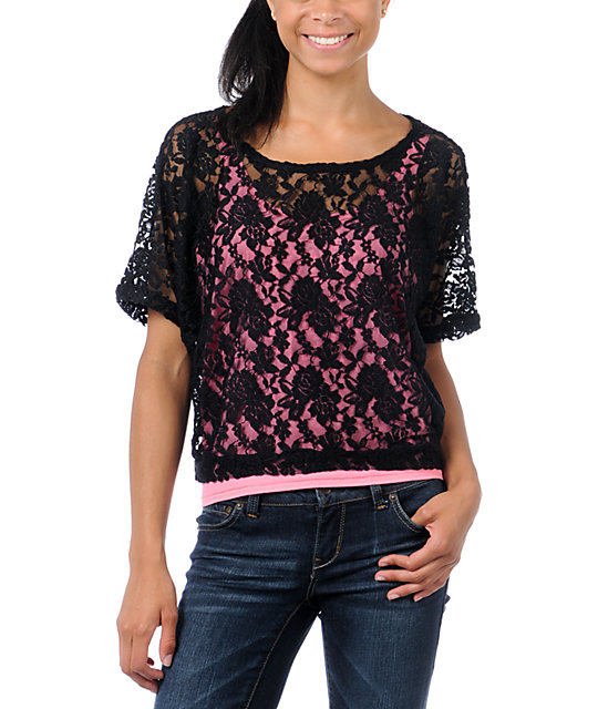 Lunachix Black Lace Crop T-Shirt