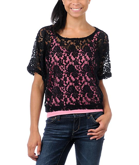 Lunachix Black Lace Crop T-Shirt