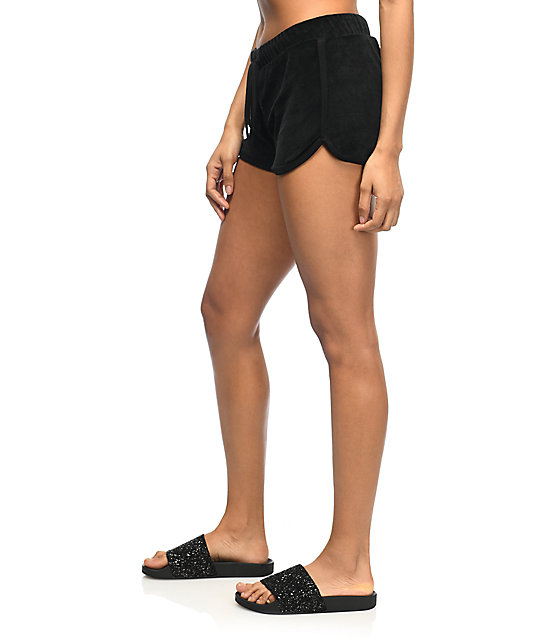 Lunachix Black Velour Dolphin Shorts