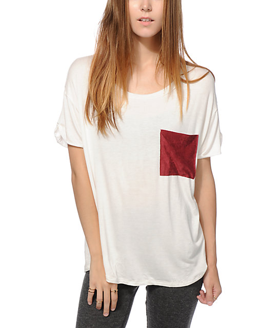 Lunachix Burgundy Velvet Pocket T-Shirt