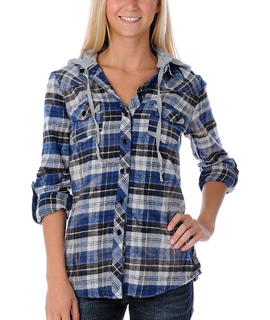 Lunachix Cosmo Bleached Blue Flannel Shirt