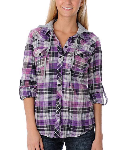 Lunachix Cosmo Bleached Purple Flannel Shirt