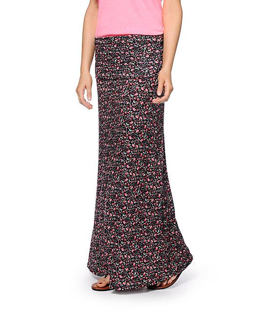 Lunachix Ditsy Floral Black Maxi Skirt