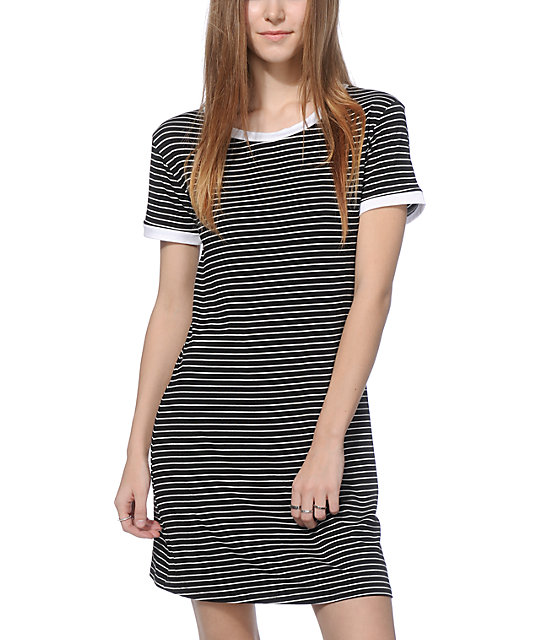 Lunachix Erin Black & White Stripe Ringer T-Shirt Dress