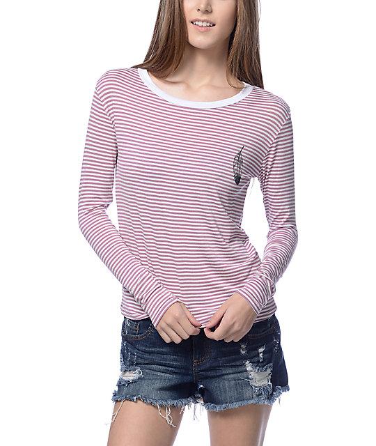 Lunachix Feather Mauve & White Stripe Long Sleeve Ringer T-Shirt