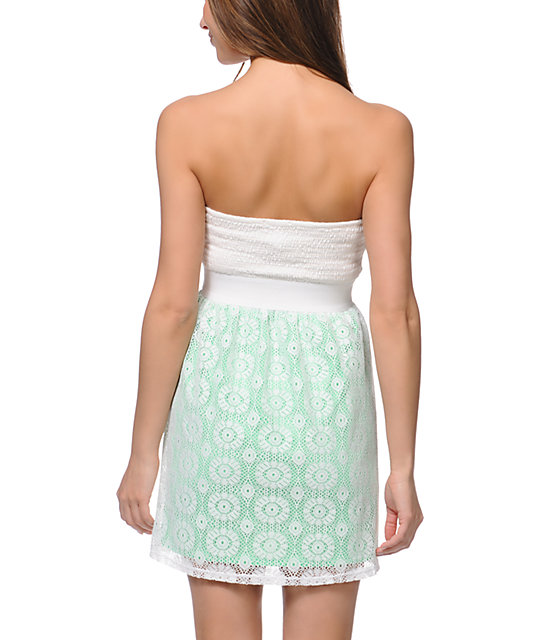 Lunachix Ivory & Neon Mint Crochet Strapless Dress