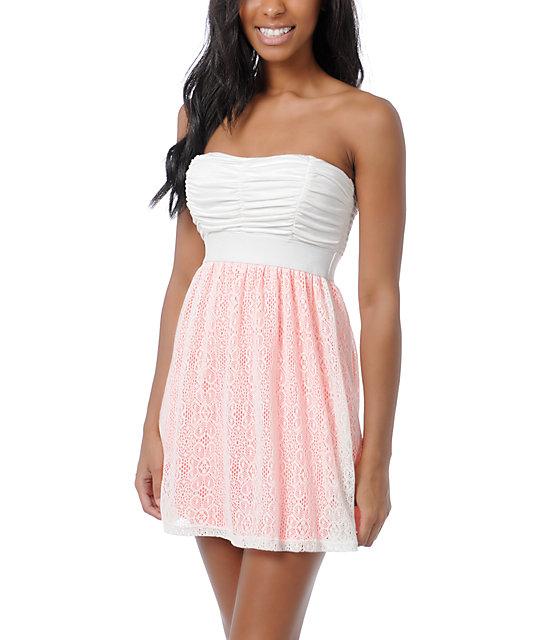 Lunachix Ivory & Neon Pink Crochet Strapless Dress