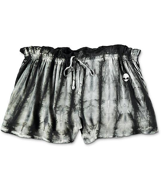 Karen Alien Embroidered Black & White Tie Dye Shorts