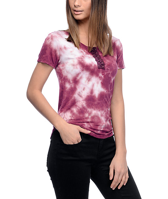 Lunachix Karina Lace Up Burgundy Tie Dye Top