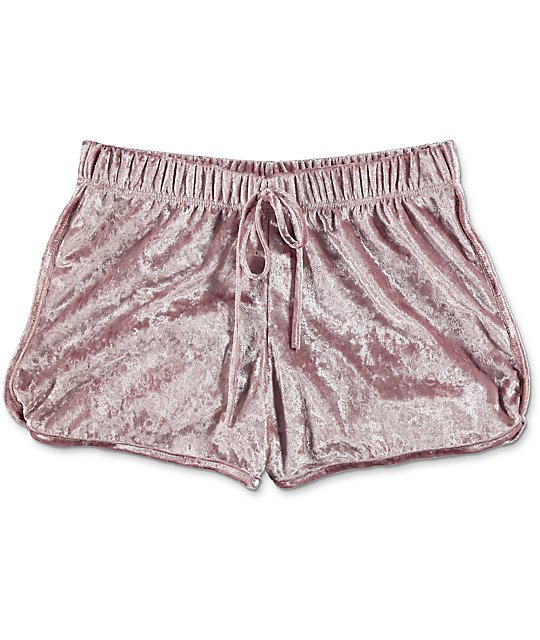 Lunachix Light Pink Crushed Velvet Shorts