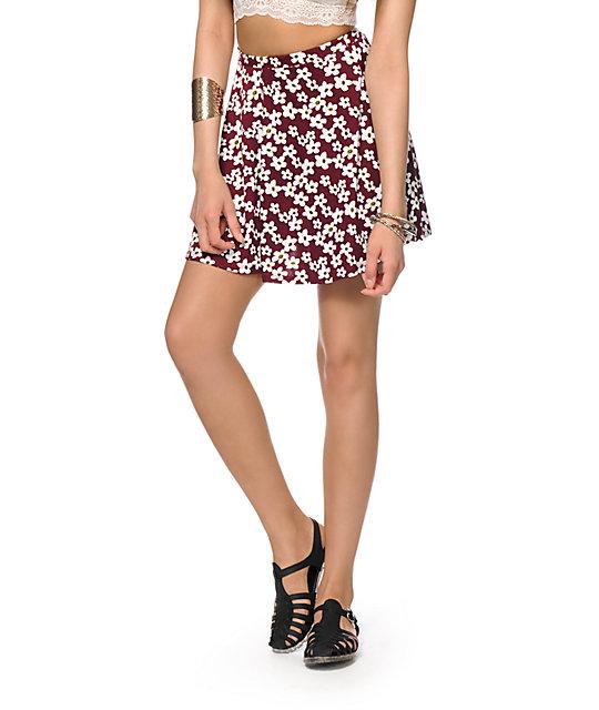 Lunachix Maroon Daisy Skater Skirt