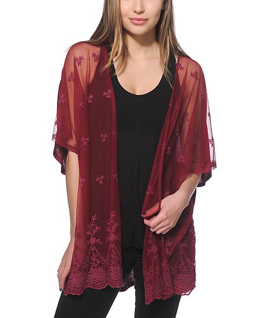 Lunachix Mesa Burgundy Embroidered Kimono