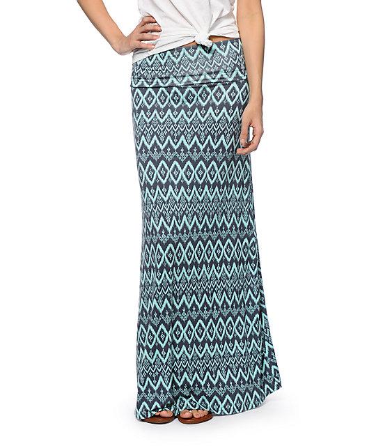 Lunachix Mint & Grey Tribal Print Maxi Skirt