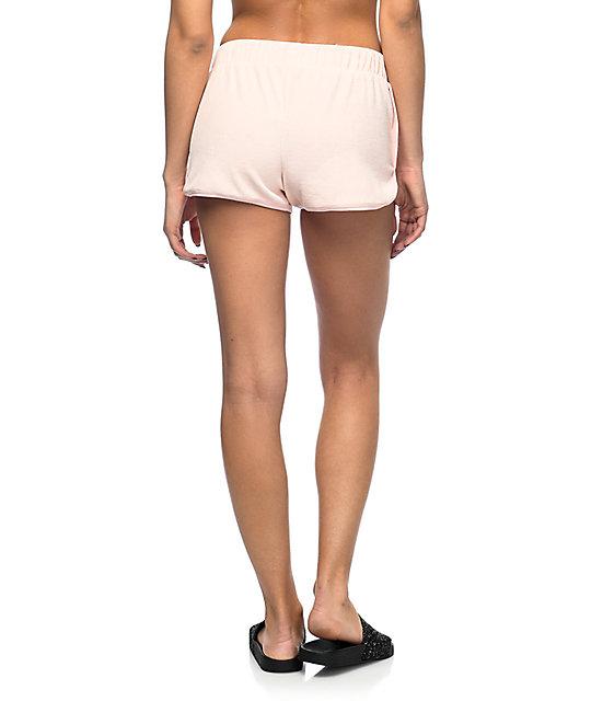 Lunachix Pink Velour Dolphin Shorts