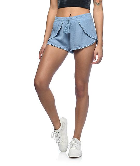 Lunachix Randi Light Blue Pom Trim Shorts