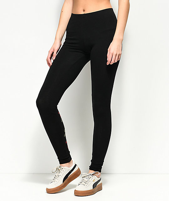 Lunachix Rose Back Black Leggings