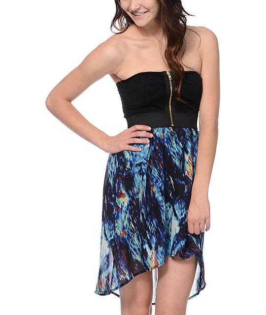 Lunachix Royal Blue Print High Low Strapless Dress