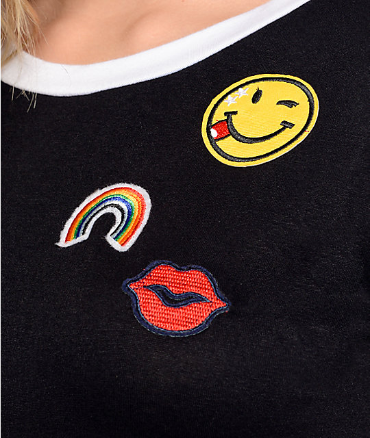 Lunachix Smiley Rainbow Patch Black Ringer T-Shirt