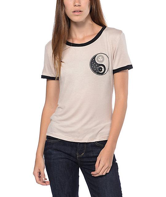Sun Moon Yin Yang Taupe Ringer T-Shirt