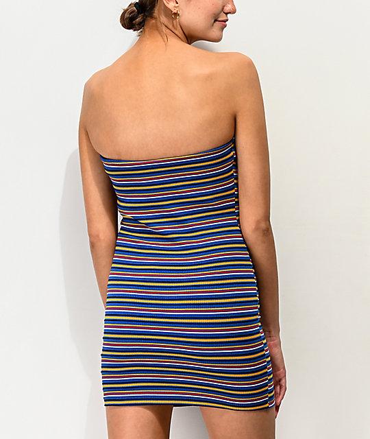 Rayas Vestido Azul Lunachix Multicolor De ym7IbYvf6g
