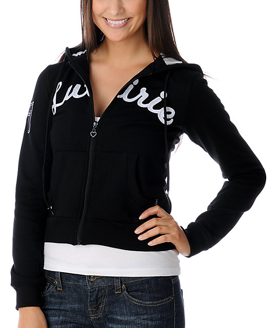 Luxirie Pandas Black Full Zip Up Hoodie