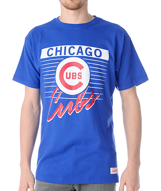 MLB Mitchell and Ness Chicago Cubs Strikeout Blue T-Shirt