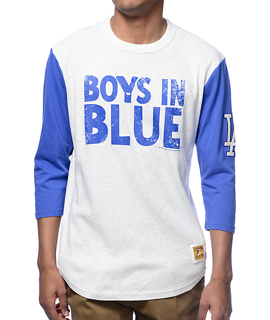 MLB Mitchell and Ness LA Dodgers Extra Out Heather Grey & Blue Baseball T-Shirt