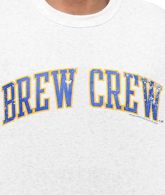 MLB Mitchell and Ness Milwaukee Brewers Extra Out Heather Grey & Blue Baseball T-Shirt