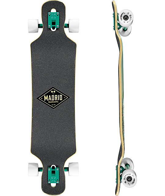 "Madrid Peafowl 39"" Drop Through Longboard Complete"