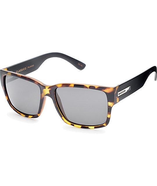 black polarized sunglasses  Madson Classico Matte Tortoise \u0026 Black Polarized Sunglasses at ...