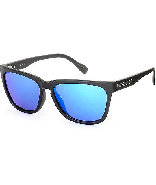 Madson LAX Matte Black & Blue Chrome Polarized Sunglasses