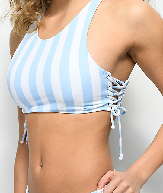 Malibu Blue & White Striped High Neck Bikini Top