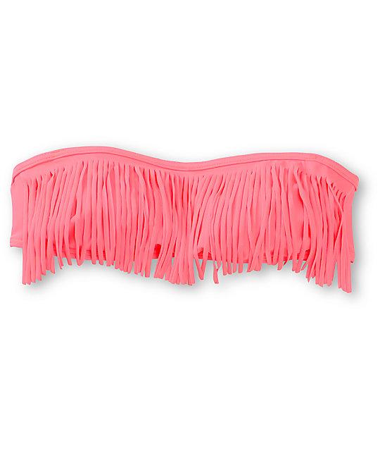 Malibu Bright Coral Fringe Bandeau Bikini Top