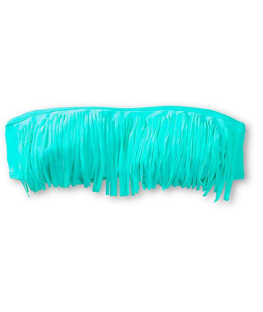Malibu Bright Emerald Fringe Bandeau Bikini Top