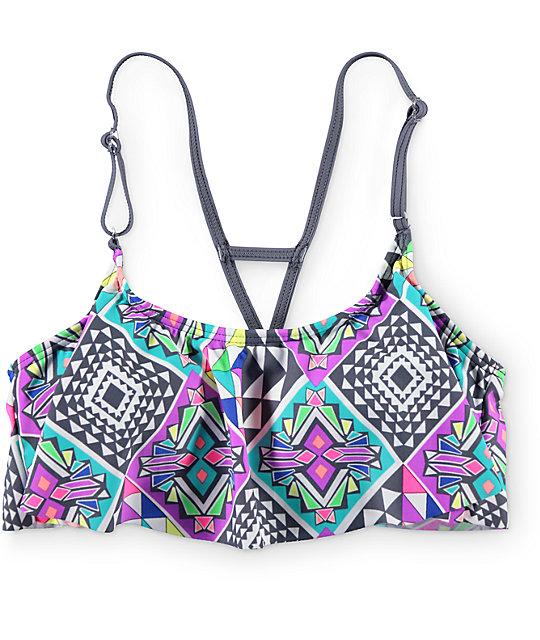 Malibu Geotopia Flounce Bikini Top