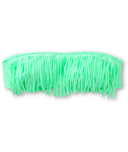 Malibu New Mint Fringe Bandeau Bikini Top