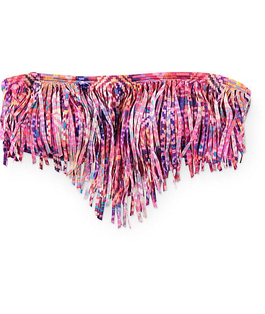 Malibu Optic Basket Tribal Fringe Bandeau Bikini Top