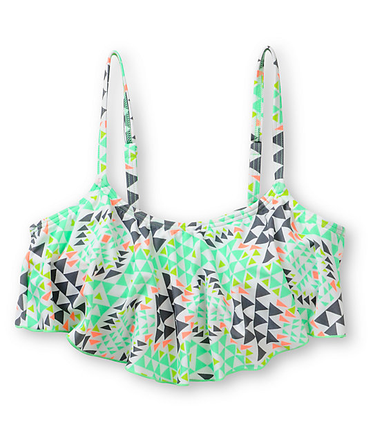 Malibu Road Trip White Geo Print Flounce Bikini Top